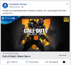 game store business facebook ad: call of duty black ops 4 with buy it now button
