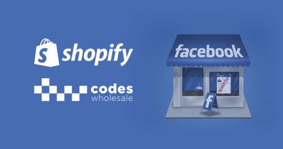 blue blog post cover with facebook store icon and shopify logo