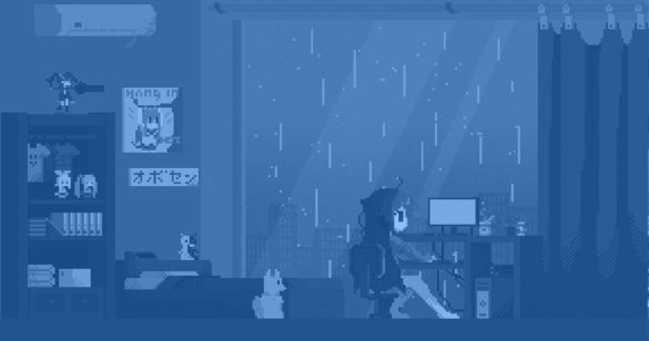 blue pixel art blog post cover