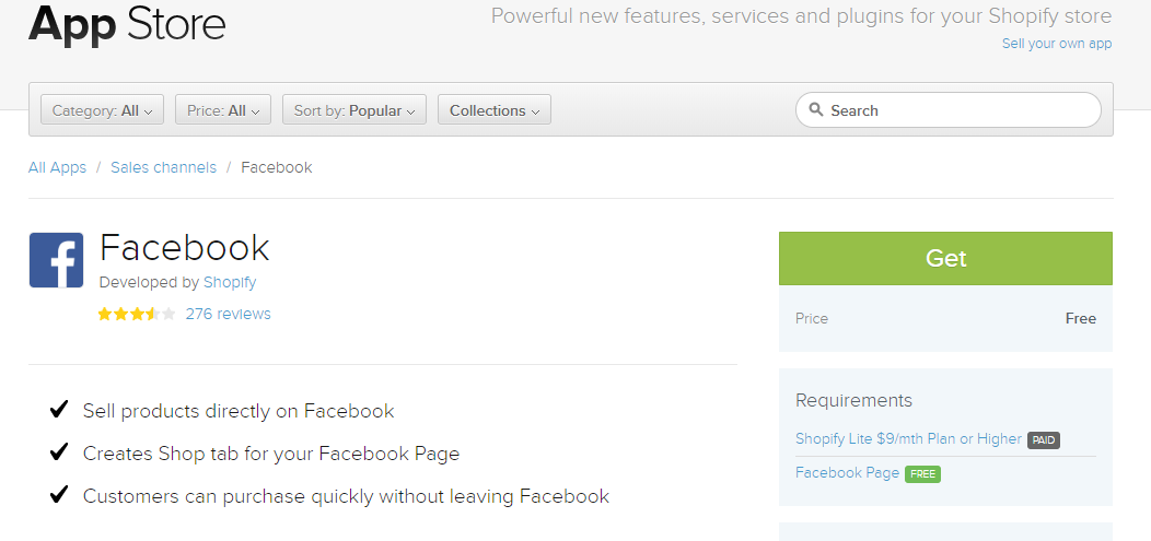 Shopify facebook app