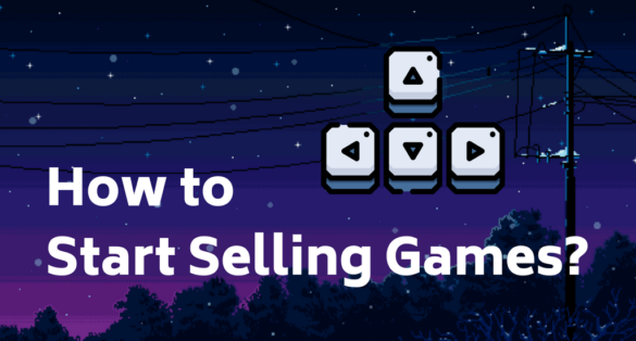 blog post cover with pixel art, arrow icon and text: how to start selling games?