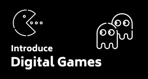 black blogpost cover with pacman icon and text: introduce digital games