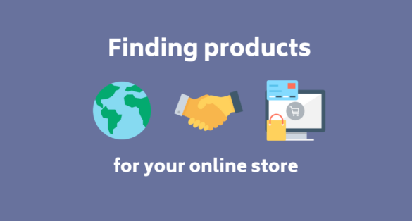 Blue blog post cover with icons and text: finding products for your online store