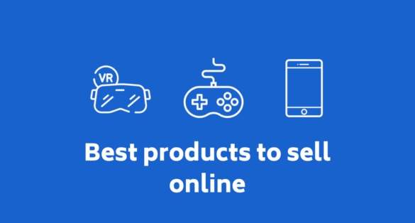 blue blog post cover with electronics icon and text: Best products to sell online
