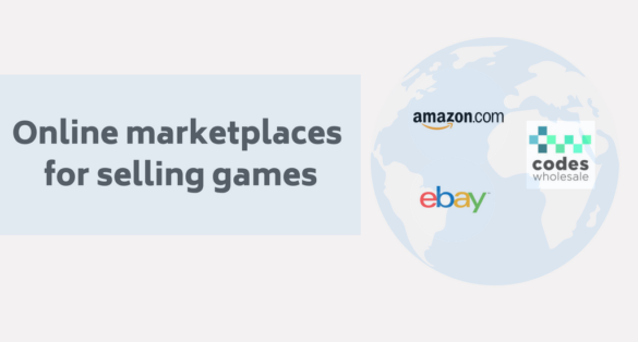 grey blogpost cover with globe icon and text: Online marketplaces for selling games