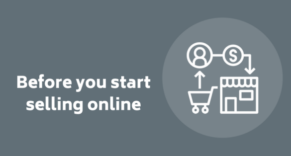 grey blogpost cver with store icon and text: before you start selling online