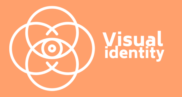 orange blogpost cover with eye icon and text: visual identity