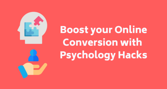 Red blog post cover with head, puzzle and hand icon and text: Boost your conversion with these psychology hacks