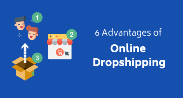 Blue blog post cover with icons and text: 6 Advantages of online shopping