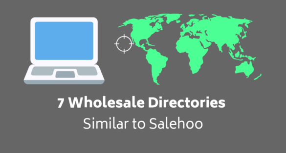 Grey blog post cover with world map and laptop icon. Text: 7 Wholesale Directories Similar to Saleshoo