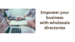 White blog post cover with picture of people working on laptops and text: Empower your business with wholesale directories