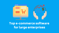 Blue blog post cover with icons and text: Top e-commerce software for large enterprises