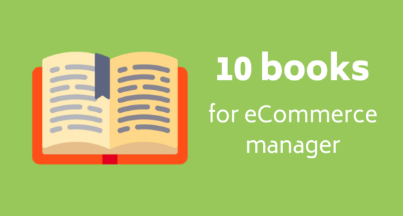 Green blog post cover with book icon and text: 10 books for eCommerce manager