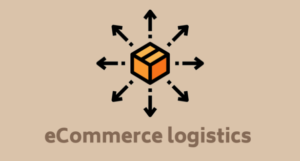 Beige blog post cover with box icon and text: eCommerce logistics