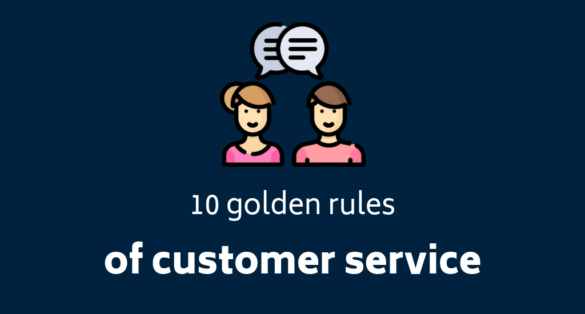 Blog post cover: 10 golden rules of customer service in eCommerce. Icon with man and woman talking.