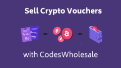 Violet blogpost cover with cryptocurrency-related icons and text: sell crypto vouchers with codeswholesale