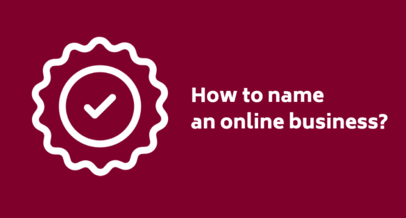 A burgundy-red blogpost cover with sticker icon and text: how to name an online business?