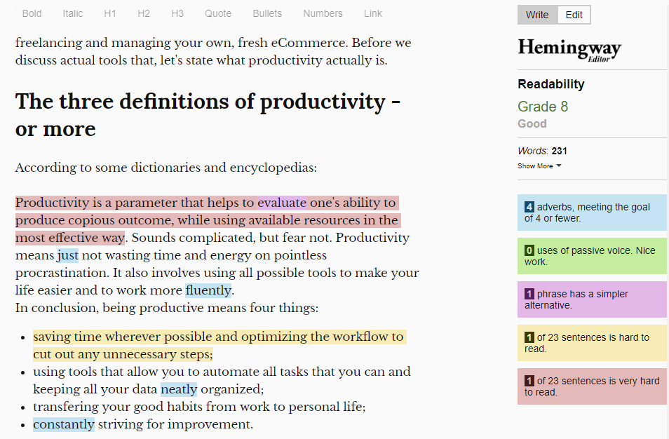 hemingwayapp editor for ecommerce business copywriting