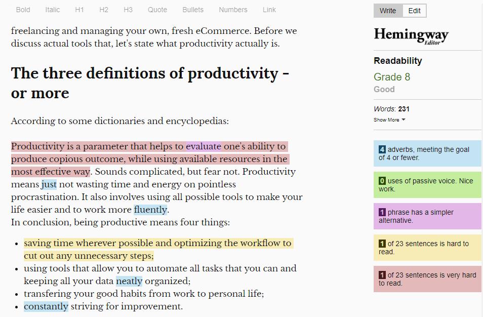 hemingwayapp editor for ecommerce business copywriting