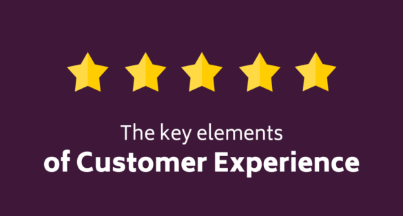 violet blogpost cover with star icons and text: the key elements of customer experience